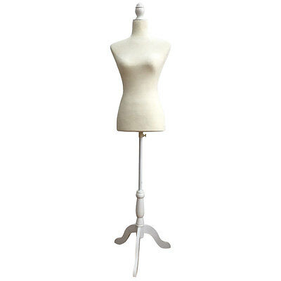 New Female Mannequin Torso Clothing Dress Form Display W/ White Tripod Stand