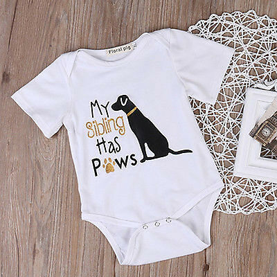 Fashion Infant Baby Unisex Dog Print Romper Jumpsuit Clothes Outfits One Piece