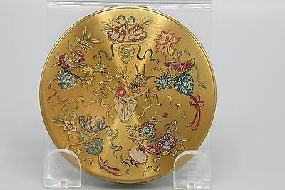 Vintage Vanity Fair Compact Applied Enamel Design Flowers Vases