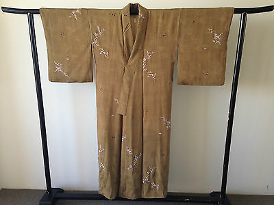 Vintage Khaki Green Decorative Silk Japanese Women's Kimono One of a Kind