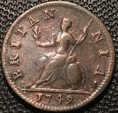 Nice 1749 Great Britain Farthing Rare Copper Coin
