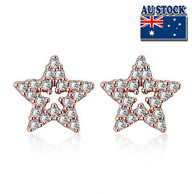 18K Rose Gold Gold Plated Star Stud Earrings With Crystal