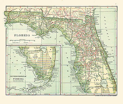 1902 Color Map of FLORIDA - the SUNSHINE STATE - Great Detail - Railroads