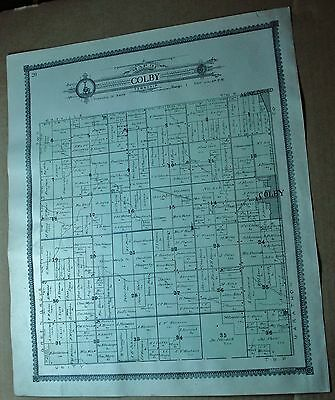 Colby & Green Grove WISCONSIN antique PLAT MAP 1906 Clark County