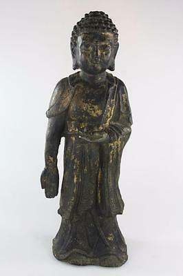 Antique Chinese Gold Gilded Cast Iron Figure Of Buddha