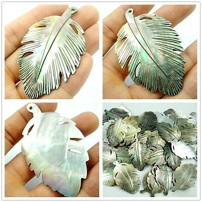 Natural Abalone SHELL hand-carved Leaves Pendant Beads necklace Jewelry D23