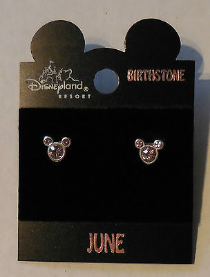 Disney Birthstone Sparkled Jeweled Mickey Head Earrings New