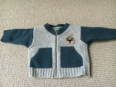 BENETTON Baby Zip Up Winter Jumper 66cm (3-6 Months) 80% Wool