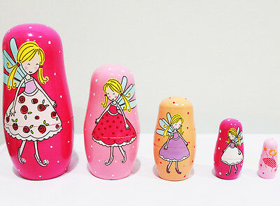 New 5Pcs/set Wooden Babushka Dolls Matryoshka Nesting Russian Toys Angels Gift
