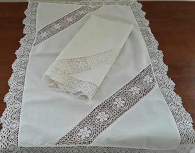 Antique Vintage 1920s 2 x WHITE Cotton Tatted Lace Large Vanity Hand Towels