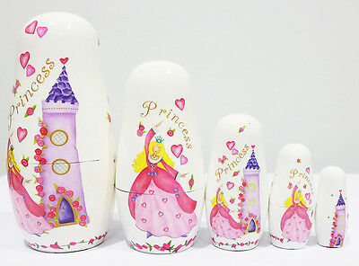 New 5Pcs/Set Wooden Babushka Dolls Matryoshka Nesting Russian Toys Princess Gift