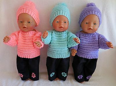 Baby Born Dolls Clothes Peach, Lime Or Purple Hand Knitted Outfit Set