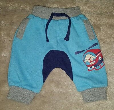 BABY BOYS 000 blue & grey BABY BERRY track pants CUTE! ELASTIC WAIST! HELICOPTER