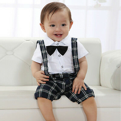 Toddler Infant Baby Boy Short Sleeve Top Jumpsuit Bib Pants Overall Party Outfit