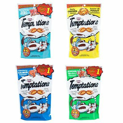 85g 3oz Whisgas Temptations Treats for 1Y+ Adult Cat Crunchy Outside Soft Inside