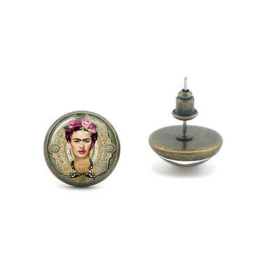 ZZ0222 frida kahlo glass dome picture earrings for women