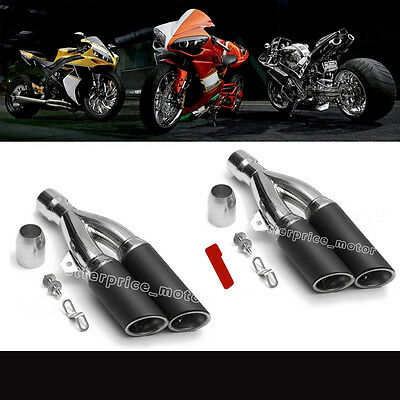 Stainless Steel Dual-outlet Exhaust Muffler Pipe Slip On Motorcycle ATV 38-51mm