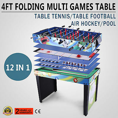 4 FT 12 IN 1 Folding Multi Games Play Table Durable Pool Air Hockey