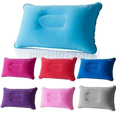 Inflatable Pillow Travel Air Cushion Camping Beach Car Plane Head Rest Support