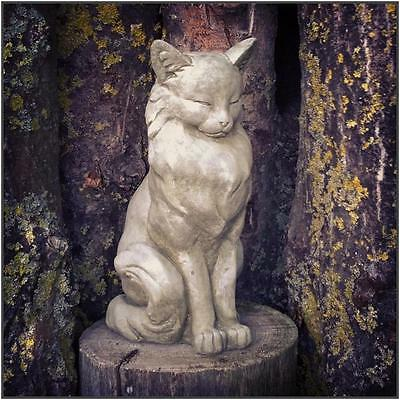 Snoozing Sleeping Sitting Cat Stone Garden Statues Ornament Sculpture Large 8Kg