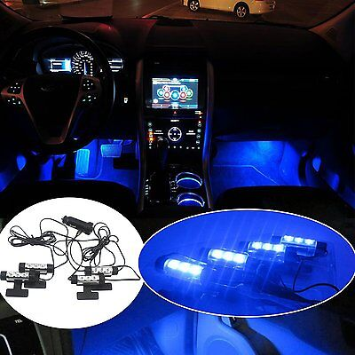 Blue 4 X 3LED Car Charge Glow Interior Decorative Atmosphere Neon Light Lamp 12V