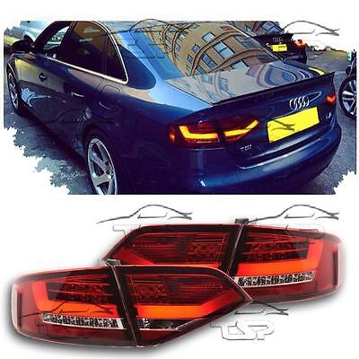 Rear Tail Led Lights Bar Red-Clear For Audi A4 B8 07-10 Lamps New