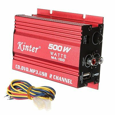 ePathChina 2-CH Mini Amplifier Car Audio Stereo Amp 500W MA-150 DC 9-15V