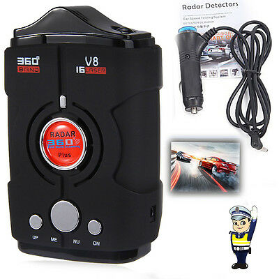 V8 Laser Radar Gun Speed Camera Gatso Detector Car Motorbike 16 Band 360 Degree