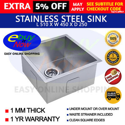 510x450x250 Single Bowl Stainless Steel Kitchen Sink Laundry Square Edges Trough