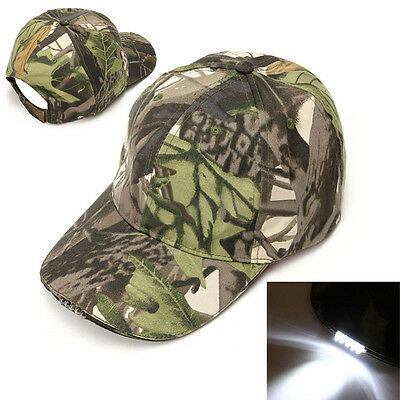 5LED Light Cap Camping Hiking Fishing Running Baseball Hat Camo with Strap Belt