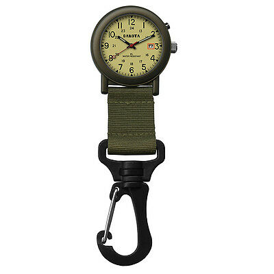 Dakota Light Backpacker Clip Watch w/Dial Light - Moss