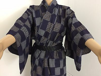 Authentic Japanese blue summer yukata for women, Japan import, good c. (J1516)