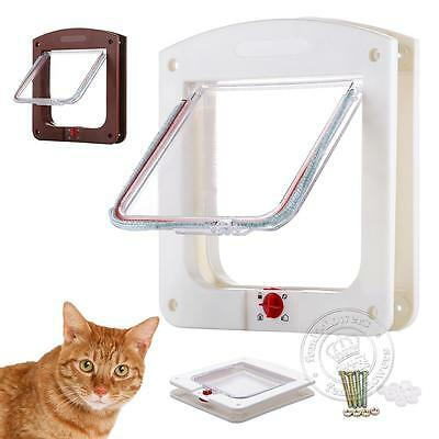 White Brown Frame 4 Way Locking Lockable Puppy Small Cat Dog Flap Pet Door