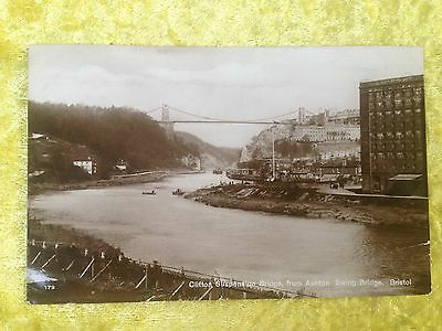 CLIFTON SUSPENSION BRIDGE FROM ASHTON SWING BRIDGE Real Photograph Postcard 1926