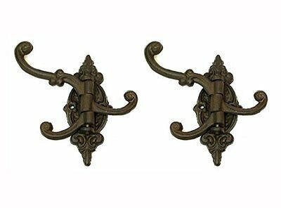 2Pcs Vintage Antique Cast Iron Victorian Swing Arm Bracket Swivel Wall Hook Hall