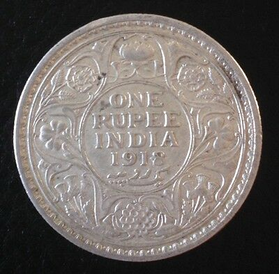 1918 KING GEORGE V One Rupee Silver Coin - East India Company