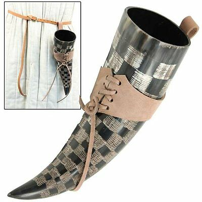 Etched Medieval Drinking Horn with Brown Holder