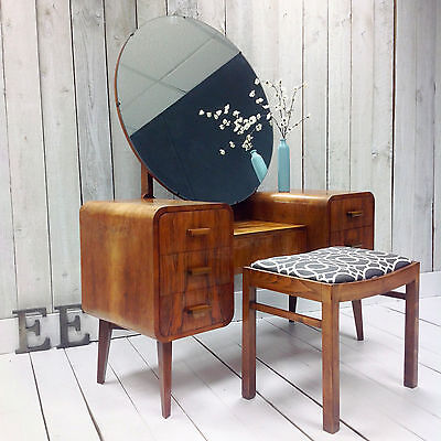 Sublime Art Deco Dressing Table, Antique Art Deco Dressing Table And Stool