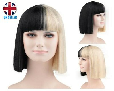 Sia Style Short Blonde And Black Fringe Synthetic Wig Hd-1010