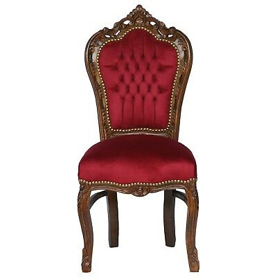 Red chair solid wood frame with burgundy velvet French