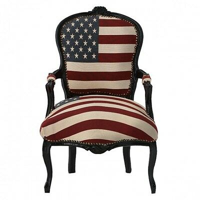 American Flag Baroque Armchair Black Hand Crafted Wood Frame