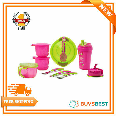 Vital Baby Toddler 12 Piece Feeding Kit Pink Make Self Feeding Less Messy & Fun