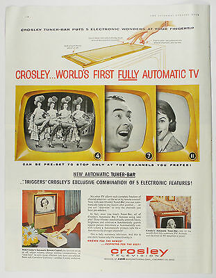 Vintage 1956 CROSLEY TELEVISION Full-Page Large Magazine Print Ad REMOTE CONTROL