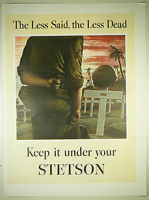 Vintage 1944 STETSON MEN'S HAT Large Magazine Full Page Print Ad: WWII