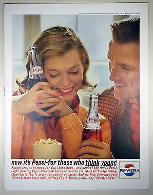 Vintage 1963 PEPSI-COLA Full-Page Large Magazine Print Ad: THOSE WHO THINK YOUNG
