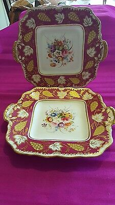 A pair of 19th century English porcelain cake plates