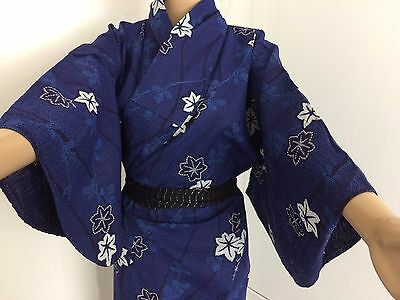 Authentic Japanese blue summer yukata for women, Japan import, good c. (J1518)