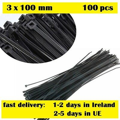 100pcs 3x100mm Network Nylon Plastic Cable Wire Zip Tie Cord Strap black