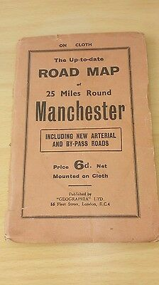Road Map of Manchester Vintage and printed on cloth by Geographia