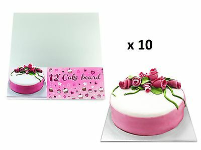 """Square Silver 12"""" Cake Boards 3mm Thick Boards Cake Decorating Making Baking x10"""